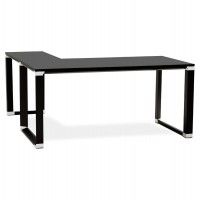Black corner desk with wooden top and black metal structure WARNER