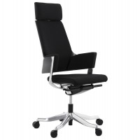 Rotating and ergonomic black office chair in fabric with woven back and seat