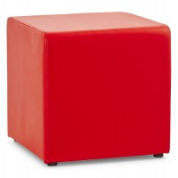 Trendy red footstool in imitation leather RUBIK