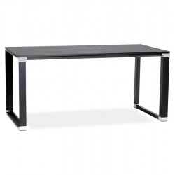 Designed black straight office desk WARNER