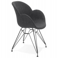 Dark gray design chair with fabric cover and solid metal structure