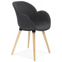Scandinavian design gray chair with comfortable fabric cover and beech legs