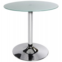 Design coffee table, white and circular, with chromed metal base and tempered glass top VINYL