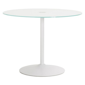 Beautiful white table with round glass tray BLOMA