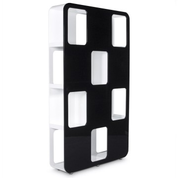 Pretty black and white double sided bookcase DAMA
