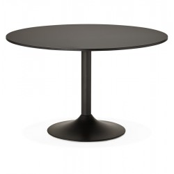 BLACK round table with large plate KONRAD