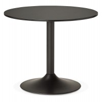 Black wooden table in round shape with solid and design base