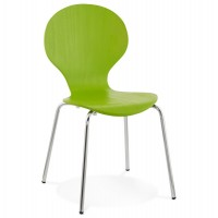 Trendy green chair with natural wood seat and chromed metal legs PERRY