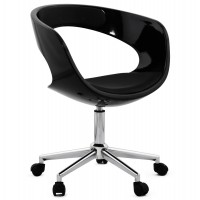Strong and design black swivel office chair with black leatherette