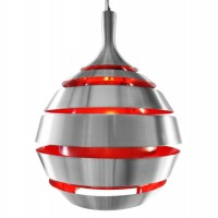 Suspension de lampe rouge en aluminium brossé HALLEY