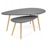 Grey coffee tables set in wood GOSMI