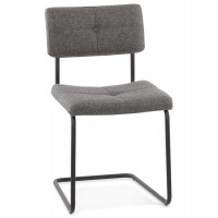 Gray chair with vintage look with upholstered seat and backrest and metal structure GARCIA