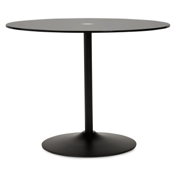 Beautiful black table with round glass tray BLOMA