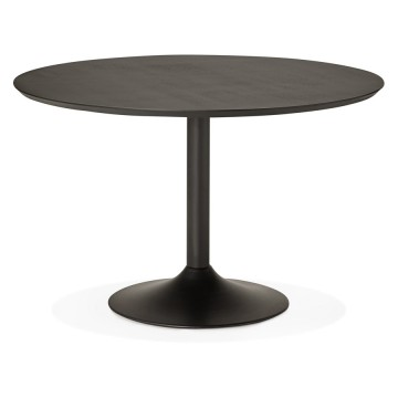 Pretty black round dining table PATON