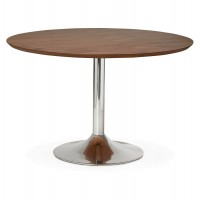 Design round table with walnut wooden top and chromed metal foot