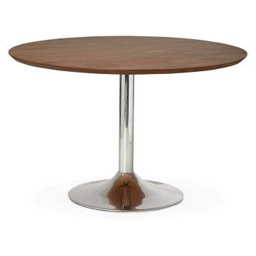 Design walnut round table with wooden top BLETA