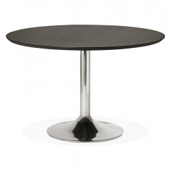Design black round table with wooden top BLETA