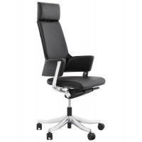 Ergonomic black office chair with leather backrest and seat