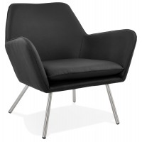 Very comfortable design black armchair upholstered in imitation leather with brushed steel legs
