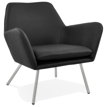 Beautiful BLACK Armchair in imitation leather LUFT