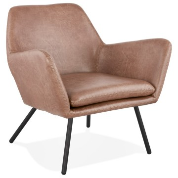 Beautiful Armchair in imitation leather LUFT (BROWN)