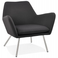 Very comfortable design black armchair upholstered in fabric with brushed steel legs VAEV