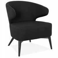 Beautiful black armchair, very comfortable, with fabric cover and solid wooden foot
