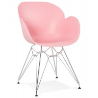 Pink design chair with polypropylene seat and chromed metal base