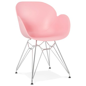 Chaise Design Rose Avec Assise En Polypropylene Et Pietement Metal Chrome CHIPIE