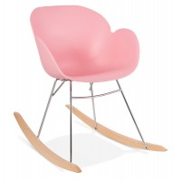Pink rocking chair with solid propylene shell and solid beech wood legs KNEBEL