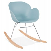 Blue rocking chair with solid propylene shell and solid beech wood legs KNEBEL