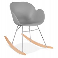Grey rocking chair with solid propylene shell and solid beech wood legs KNEBEL