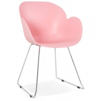 Pink chair, design and contemporary, with chromed metal legs TESTA