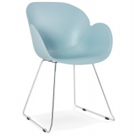Blue chair, design and contemporary, with chromed metal legs TESTA