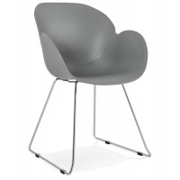 Grey chair, design and contemporary, with chromed metal legs TESTA