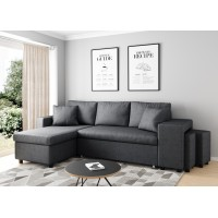 Corner sofa 3 seater convertible dark gray OSLO