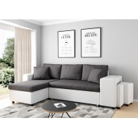 Corner sofa 3 seater convertible dark gray and white base OSLO