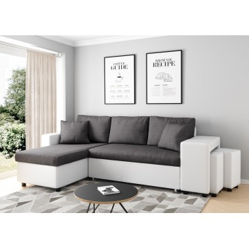 White and dark gray convertible corner sofa OSLO