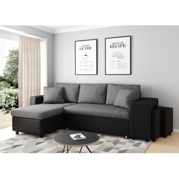 Black and dark gray convertible corner sofa OSLO