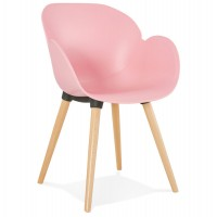 Scandinavian design pink chair with solid polypropylene shell and solid beech legs