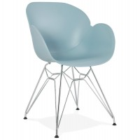 Blue design chair with polypropylene seat and chromed metal base