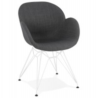 Design chair in dark grey with white metal legs
