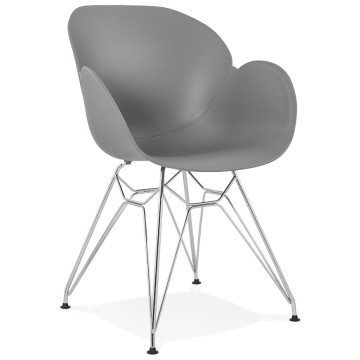 Strong and design GREY chair with armrests CHIPIE