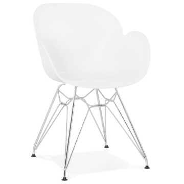 Strong and design WHITE chair with armrests CHIPIE