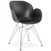 Black design chair with polypropylene seat and chromed metal base