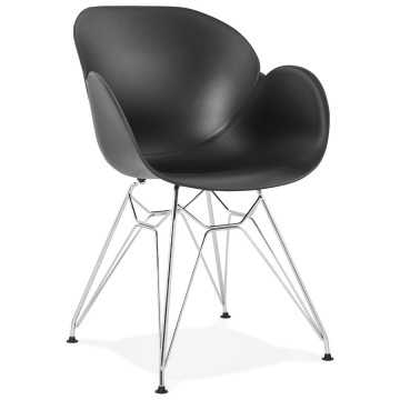 Strong and design BLACK chair with armrests CHIPIE