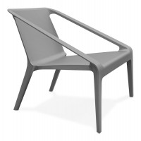 Dark grey armchair, sober and refined, for inside and outside, molded in one piece in polypropylene