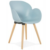 Scandinavian design blue chair with solid polypropylene shell and solid beech legs