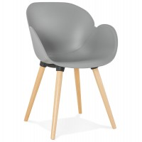Scandinavian design grey chair with solid polypropylene shell and solid beech legs