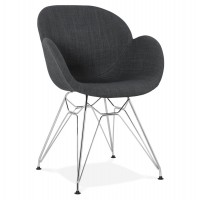 Industrial-style upholstered black chair with armrests and solid chromed metal structure